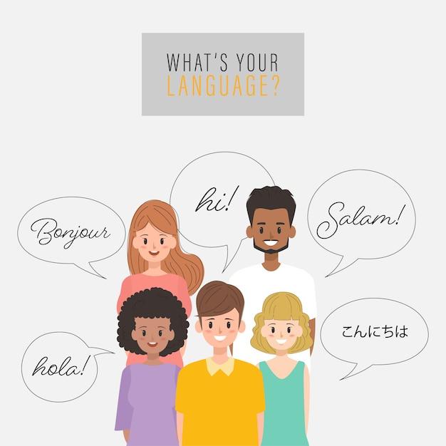 Gruppo di persone che parlano in diverse lingue. Vettore Premium