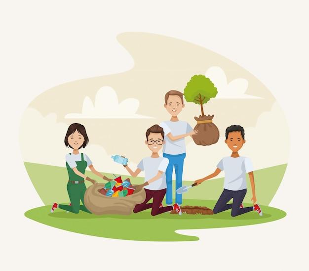 Gruppo di persone che piantano nel campo Vettore Premium