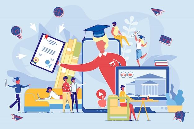 Gruppo di persone che ricevono il diploma in apprendimento a distanza Vettore Premium