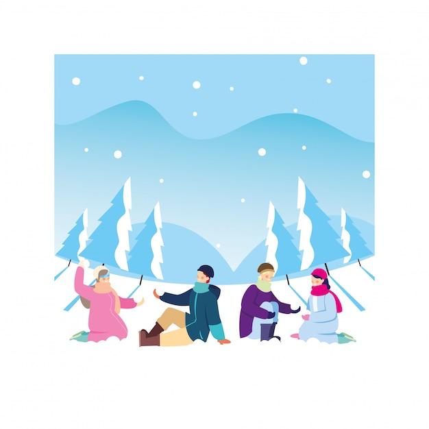 Gruppo di persone con abiti invernali nel paesaggio con nevicate Vettore Premium