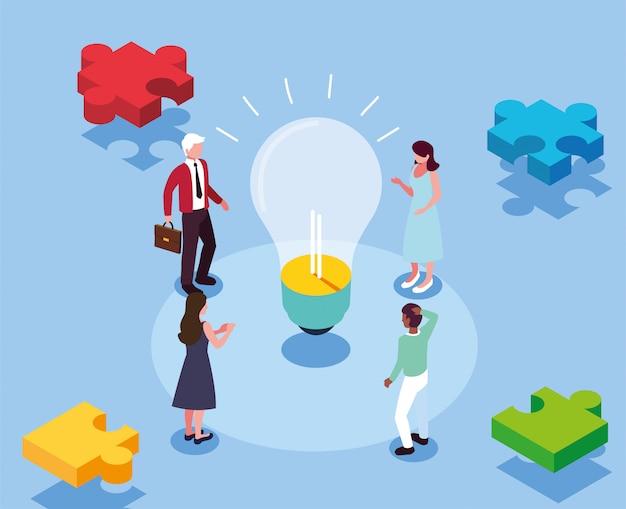 Gruppo di persone con lampadina, lavoro di squadra Vettore Premium