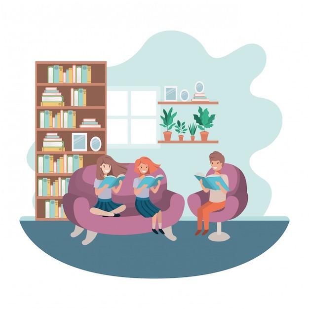 Gruppo di persone con libro nel personaggio avatar soggiorno Vettore Premium