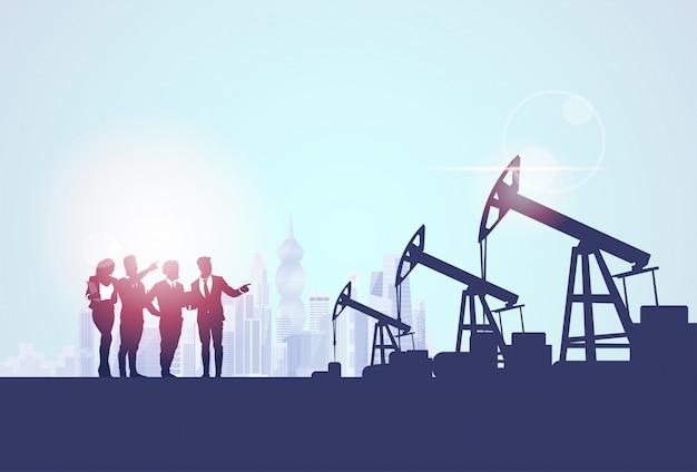 Gruppo di persone d'affari oil industry business pump pump petrol banner Vettore Premium