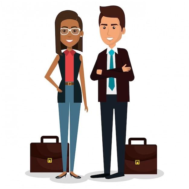 Gruppo di persone di affari con l'illustrazione di lavoro di squadra del portafoglio Vettore gratuito