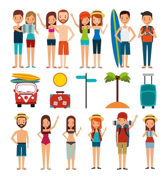 Gruppo di persone e icone di vacanze estive Vettore gratuito