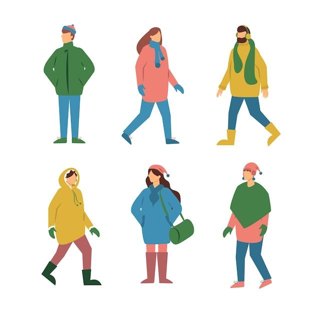 Gruppo di persone in abiti invernali Vettore gratuito