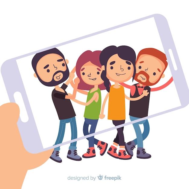 Gruppo di persone in posa per una foto Vettore gratuito