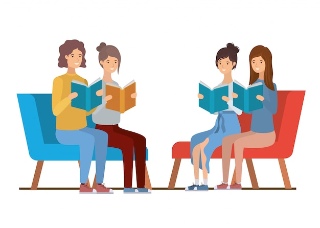 Gruppo di persone sedute sulla sedia con il libro in mano Vettore Premium