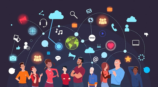 Gruppo di persone sopra internet sociale del fondo delle icone di media e concetto moderno di tecnologia Vettore Premium