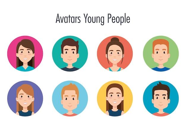 Gruppo di progettazione dell'illustrazione di vettore degli avatar dei giovani Vettore Premium
