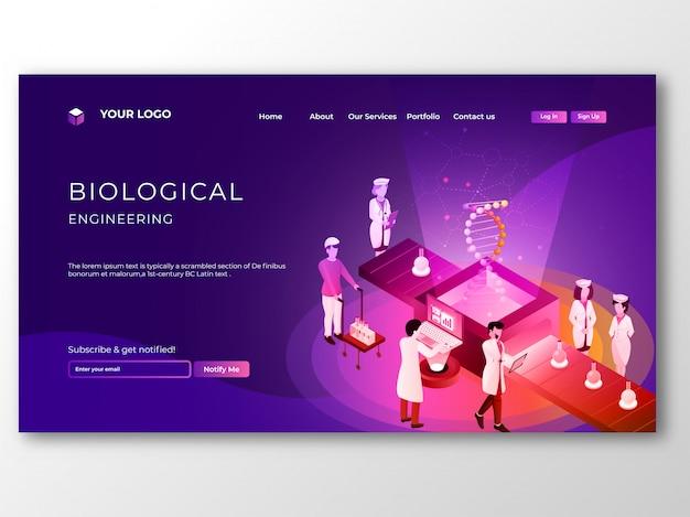 Gruppo di scienziato che fa la ricerca sul dna del genoma in la biologica Vettore Premium