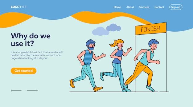 Gruppo di sportivi che eseguono il modello della pagina di atterraggio di maratona Vettore gratuito