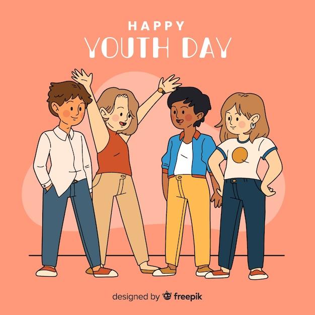 Gruppo di stile disegnato dei bambini a disposizione che celebra il giorno della gioventù su fondo arancio Vettore gratuito