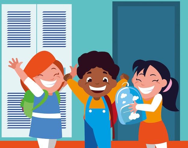 Gruppo di studenti nel corridoio della scuola con armadietti, ritorno a scuola Vettore Premium