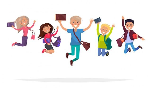 Gruppo di studenti saltando con libri, grandi zaini e borse alla moda isolati isolati Vettore Premium