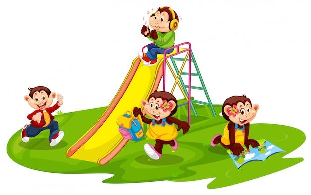 Gruppo di studenti scimmia Vettore gratuito
