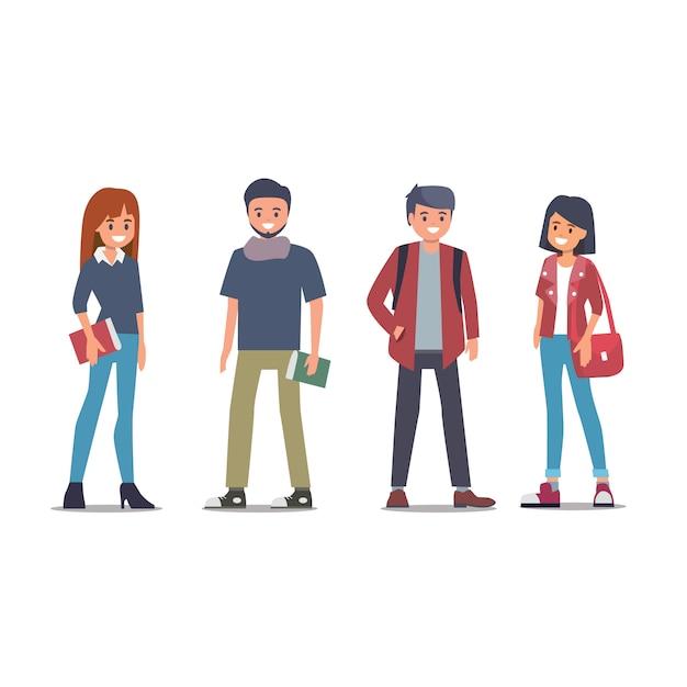 Gruppo di studenti universitari torna a scuola appartamento Vettore Premium