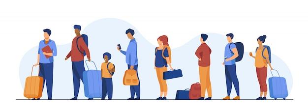 Gruppo di turisti con bagagli in fila Vettore gratuito