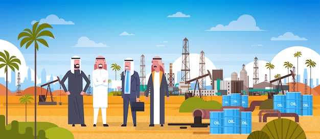 Gruppo di uomini arabi di affari sulla piattaforma petrolifera nel concetto di produzione e di commercio di petrolium dell'est del deserto Vettore Premium