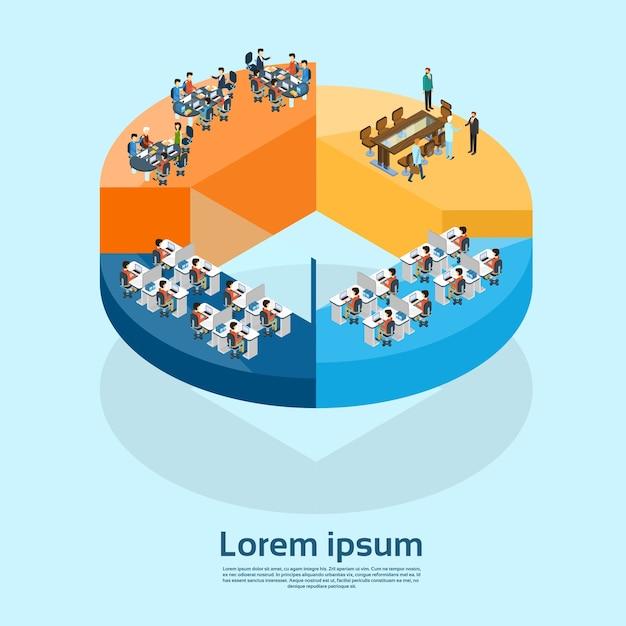 Gruppo di uomini d'affari interni ufficio affari sul diagramma a torta Vettore Premium