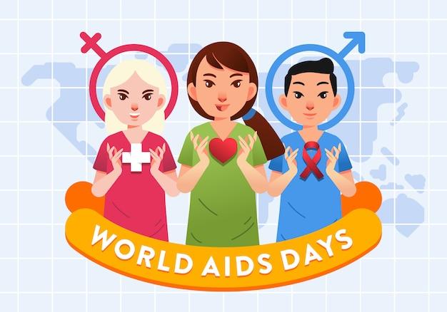 Gruppo di uomini e donne di operatore sanitario con cuore e illustrazione del logo di aids per poster di giornate mondiali contro l'aids Vettore Premium