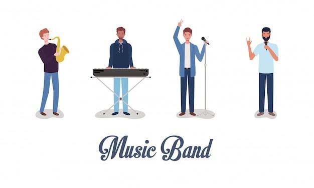 Gruppo di uomini music band suonare strumenti Vettore Premium