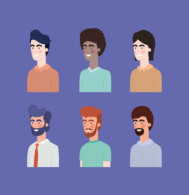 Gruppo di uomini personaggi interrazziali Vettore Premium