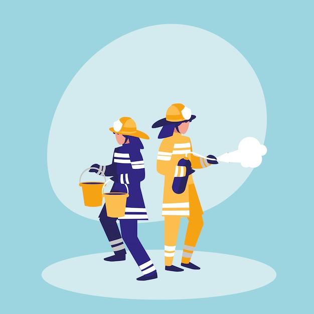Gruppo di vigili del fuoco con secchi ed estintore Vettore Premium