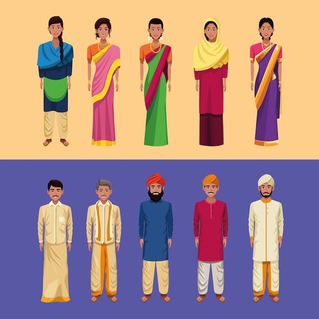Gruppo indiano del fumetto dell'india Vettore gratuito