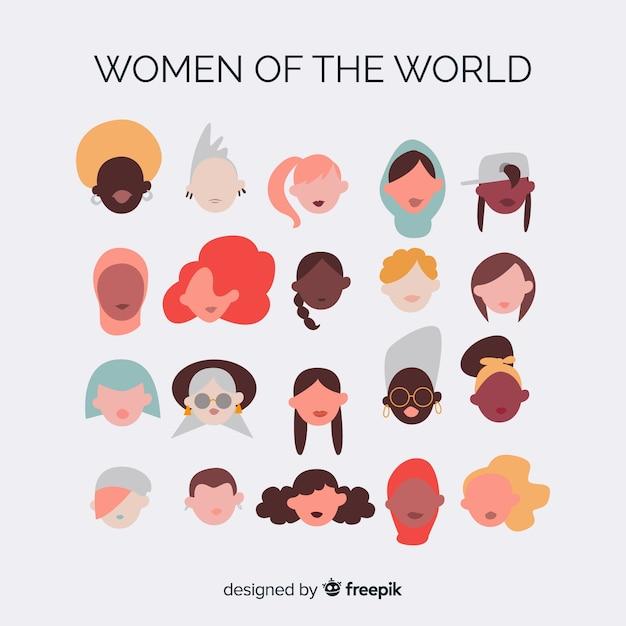 Gruppo interrazziale di donne sullo sfondo Vettore gratuito