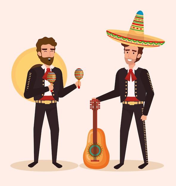 Gruppo mariachi messicani con strumenti Vettore Premium