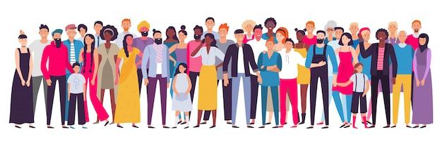 Gruppo multietnico di persone. società, ritratto di comunità multiculturale e cittadini. illustrazione di persone giovani, adulti e anziani Vettore Premium