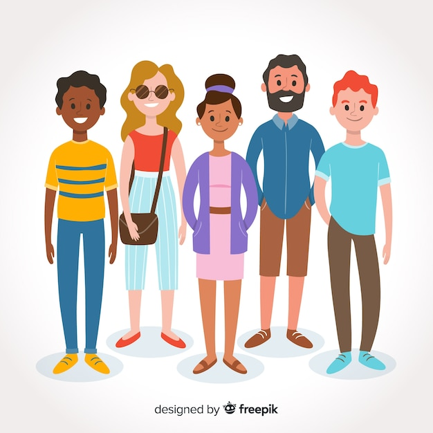 Gruppo multirazziale di persone diverse Vettore gratuito