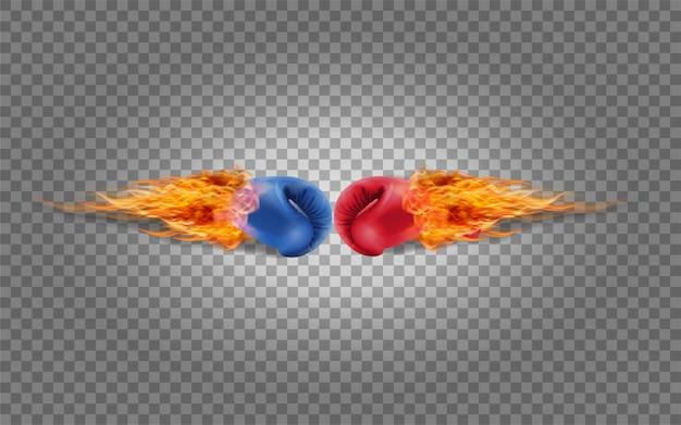 Guantoni da boxe rosso e blu nel fuoco che colpiscono insieme Vettore Premium