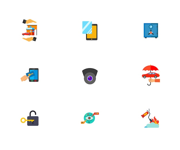 Guard icon set Vettore gratuito