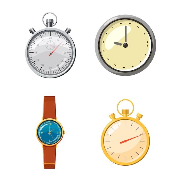 Guarda insieme. cartoon set di orologio Vettore Premium