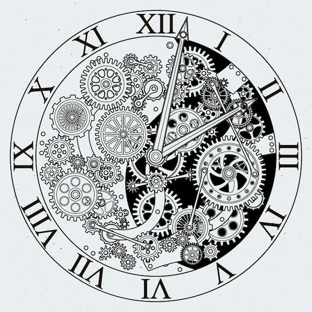 Guarda le parti. meccanismo dell'orologio con ruote dentate. Vettore Premium