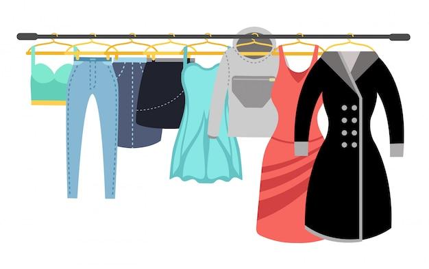 Guardaroba femminile vestiti casuali variopinti delle signore che appendono sull'illustrazione di vettore della cremagliera Vettore Premium