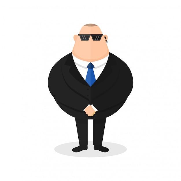 Guardia del corpo forte, guardia di sicurezza. tosse giovane malata Vettore Premium