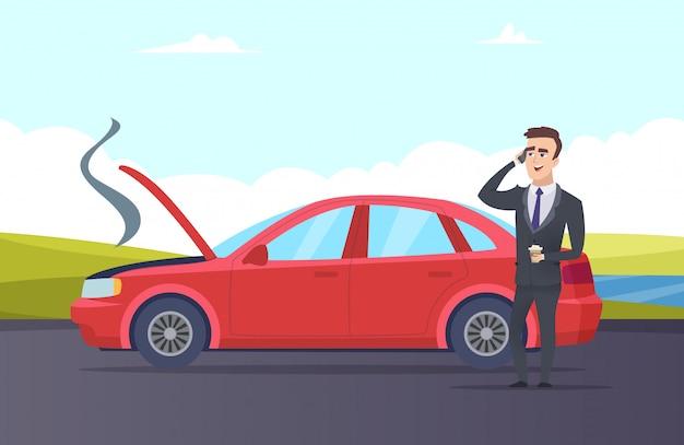 Guasto alla macchina. illustrazione del fumetto di assistenza stradale. uomo d'affari ha bisogno di un servizio di riparazione auto Vettore Premium