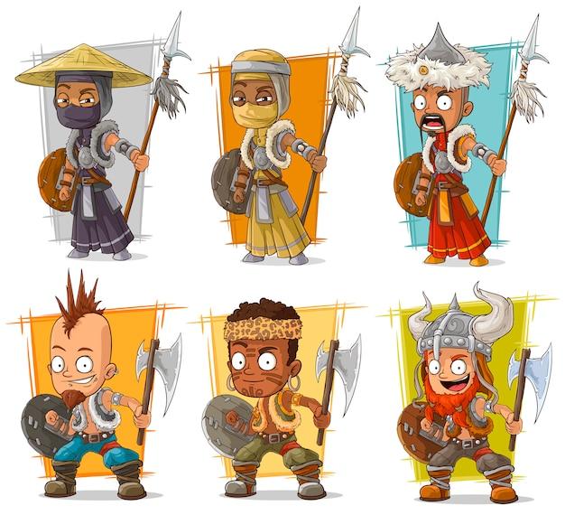 Guerrieri del fumetto con set di caratteri lancia Vettore Premium