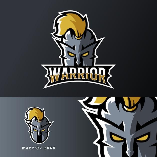 Guerriero cavaliere sport o esport modello di logo mascotte di gioco Vettore Premium