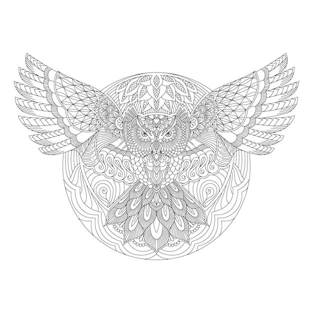 Gufo con stile mandala in linea arte vettoriale Vettore Premium