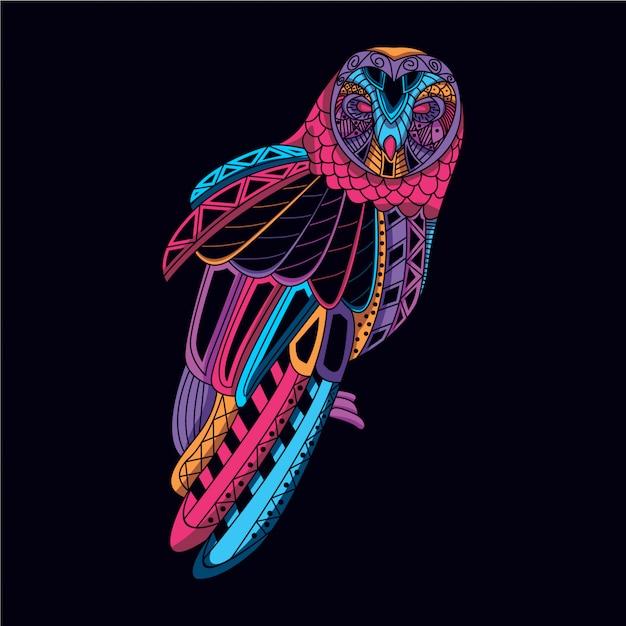 Gufo decorativo da bagliore di colore neon Vettore Premium