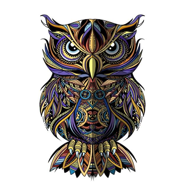 Gufo disegnato in stile zentangle Vettore Premium