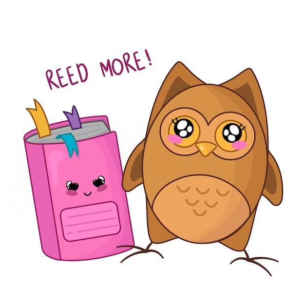 Gufo simpatico cartone animato kawaii con quaderno rosa, ritorno a scuola Vettore Premium