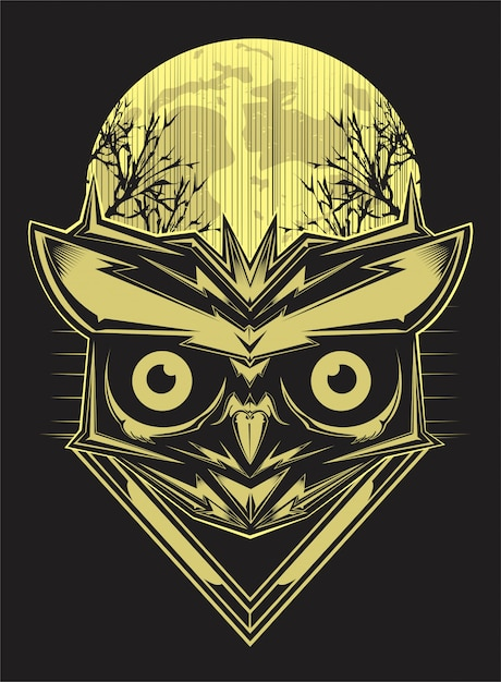 Gufo sul fondo e sulla luna della siluetta della foresta. disegno a mano vettoriale Vettore Premium