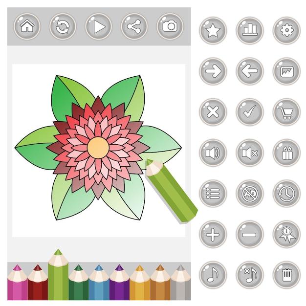 Gui colorazione mandala per adulti e set di matite colorate e bottoni di colore grigio. Vettore Premium