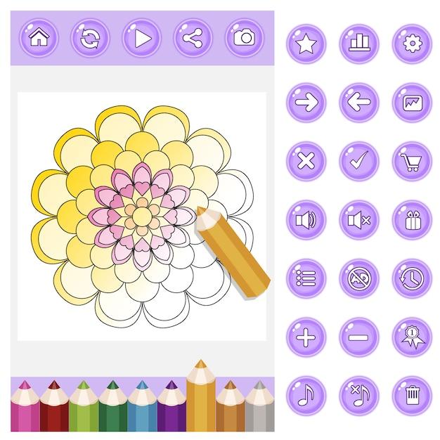 Gui colorazione mandala per adulti e set di matite colorate e bottoni di colore viola. Vettore Premium