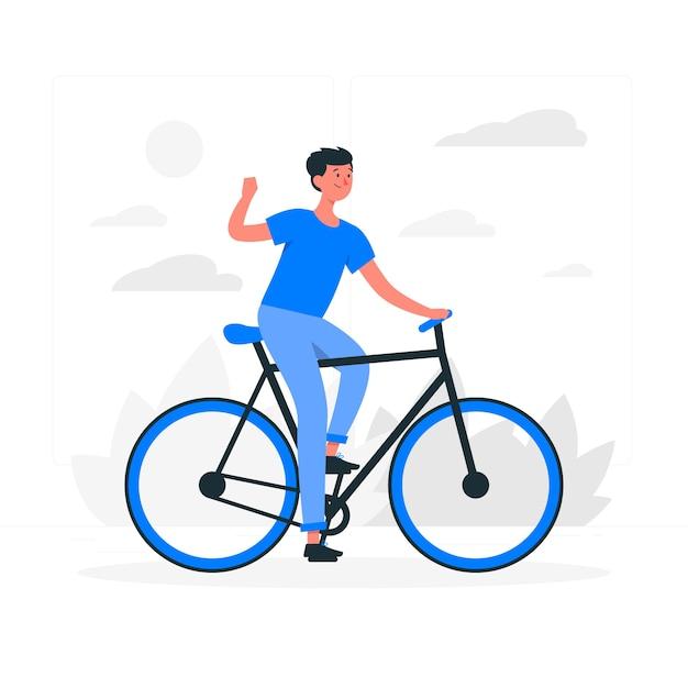 Guidare un'illustrazione del concetto di bicicletta Vettore gratuito